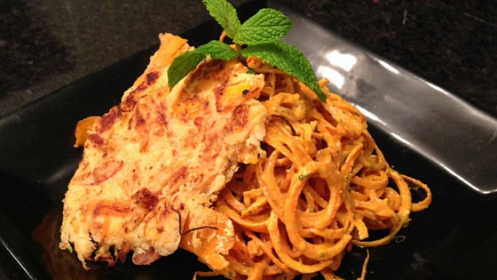 Spaghetti Squash Latke with Carrot Ginger Noodles
