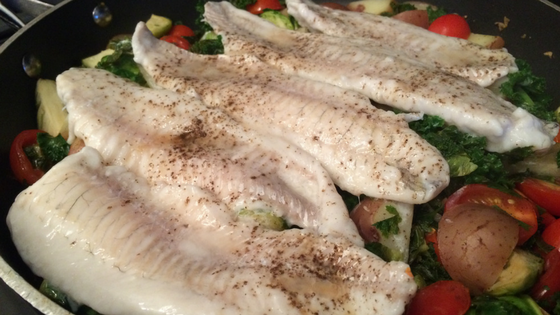 Oven Baked Halibut On A Bed Of Vegetables