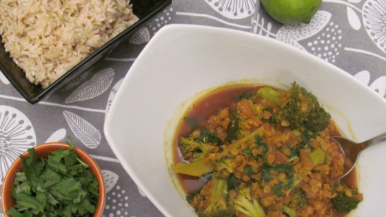 Red Lentil Dahl with Broccoli