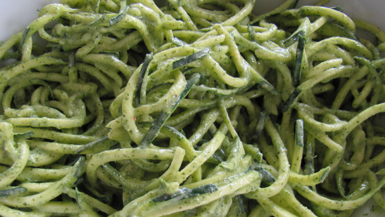 Zucchini Noodles With Hemp Seed Mint Pesto